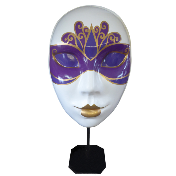 Purple Masquerade Mask on Stand