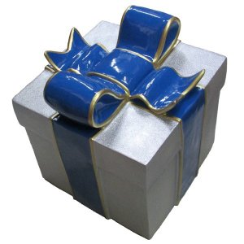 +CHR211E Giftbox Silver Glitter with Blue Bow