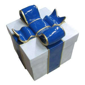 +CHR211C.1 Giftbox White Glitter with Blue Bow