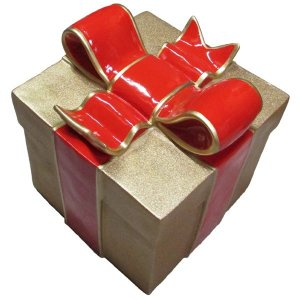 +CHR211A Giftbox Gold Glitter with Red Bow