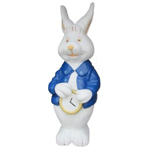 +ALI244 White Rabbit Standing with watch