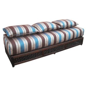 FUR460 Moroccan Sofa in Blue-Brown Stripe