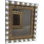 +HOL204E Dressing Mirror Wood Distress Gold