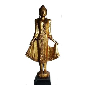 +IND209A Buddha Gold Carved