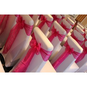 Organza sash on spandex cover