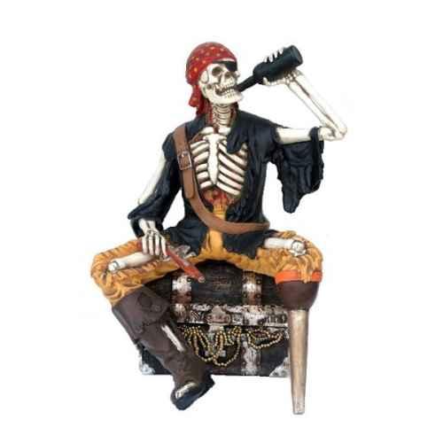 +PIR208 Pirate Skeleton sat on Treasure