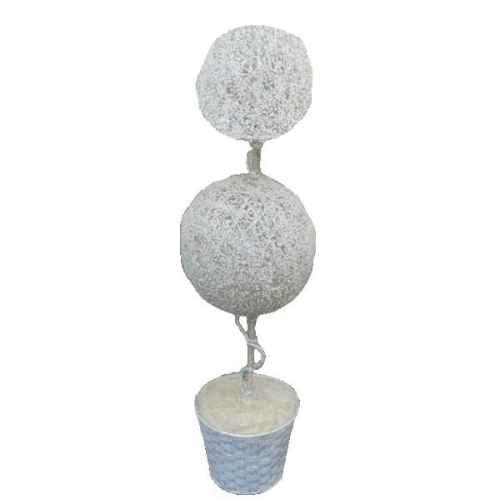 +CHR312U White Topiary Ball Tree -