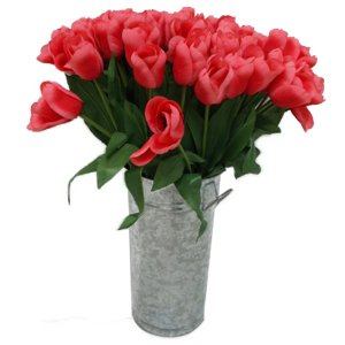 CAT229A Tulips in Metal Pot