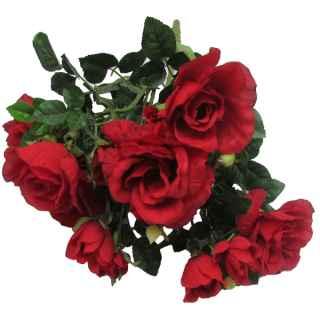 PLA035B Red Rose Cluster 50cm