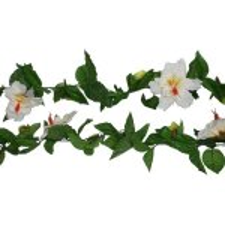 PLA070 Hibiscus garland White Flowers