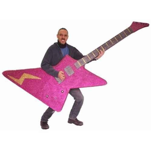 +SEV201 Giant Pink Glitter Guitar Model