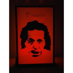 +SPA104 Albert Einstein silhouette lit in red