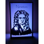 +SPA103 Isaac Newton silhouette lit in purple