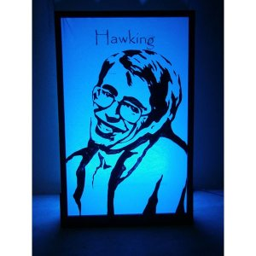 +SPA102 Stephen Hawking silhouette lit in lt blue