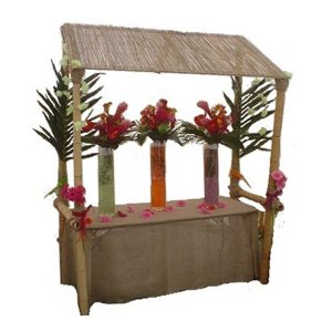 +CAT017B Bamboo Stall with Bamboo Roof decorated