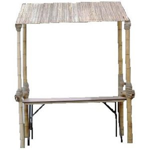 +CAT017WT Bamboo Stall with Wllow Reed Roof