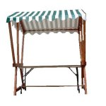 +CAT015- G Market Stall Green Striped Canopy