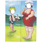 YAC115 Picture Postcard Flat Fat Lady & Boy