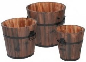 +GAR247 Set of 3 Wooden Buckets