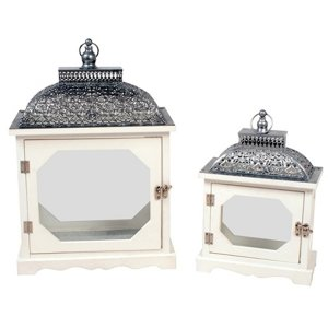 +CAN021 Victorian Wide Lantern (set of 2) 32-44cm ht