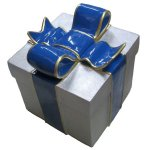 +CHR211E Giftbox Silver Glitter with Blue Bow