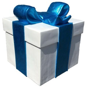 +CHR211C Giftbox White with Blue Bow