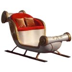 +CHR200A Xmas Sleigh in White and gold