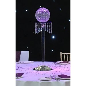 +TAB082 Crystal Pedestal with Crystal Ball Table Centre close up