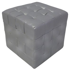 FUR340 Cube Seat Silver Faux Leather