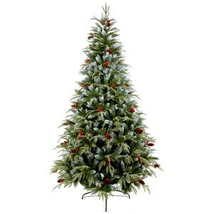 CHR309B Frosted Spruce Berry and Cone Tree
