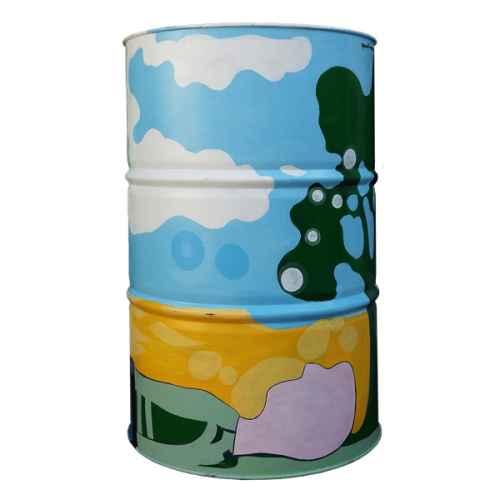 FES 400 Metal Painted Oil Drum Clouds