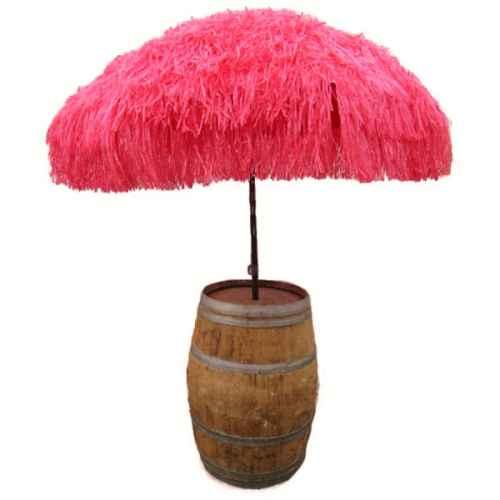 +CAR201R Red raffia parasol with barrel