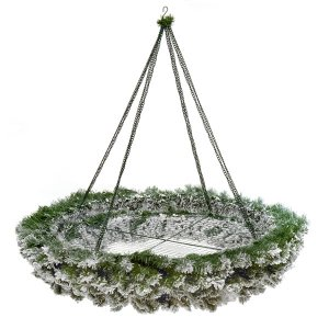 CHR342 Flocked Hanging Circular Wreath