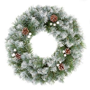 CHR348 Wreath Snow Tip Berry Cone