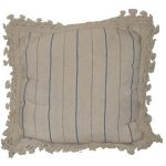 FUR651 Ivory Cushion blue strip