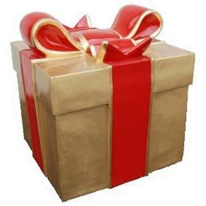 +CHR211 Giftbox Gold with Red Bow