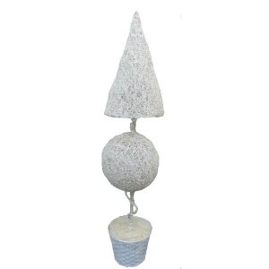 +CHR312T White Topiary Cone Tree